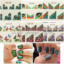 Butterfly Peacock Lace Flower Nail Art 3D Tattoo Sticker DIY Tips Decoration