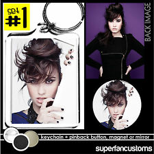 Demi Lovato KEYCHAIN + BUTTON or MAGNET or MIRROR heart attack neon lights #1241