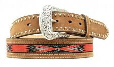 Nocona Western Mens Belt Leather Tooled Ribbon Inlay Studs Brown N2476244