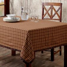 Berkeley Ruffled Burgundy Green Tan Plaid Cotton Country Kitchen Tablecloth