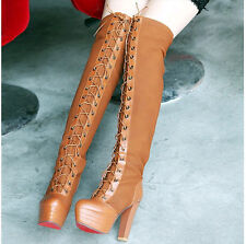 Womens platform Faux Suede frosted Lace up thick high heels over the knee boots