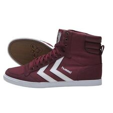 HUMMEL TRAINERS SLIMMER STADIL HIGH CANVAS HI TOPS UK 8 OXBLOOD WHITE