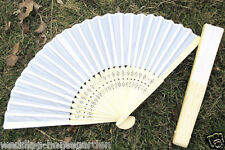 Lady's White 5 10 20 30pcs Silk Folding Hand Held Fans For Wedding Party pe128