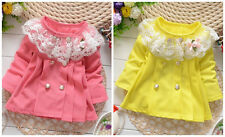 New baby girls kids spring  autumn clothing outerwear kids clothes lace flower