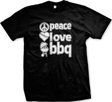 Peace Love BBQ Bar-B-Que Grilling Cookout Grill Master Summer Mens T-shirt