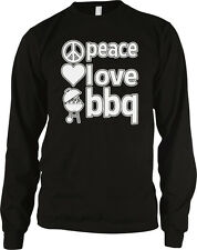 Peace Love BBQ Bar-B-Que Grilling Cookout Grill Master Long Sleeve Thermal