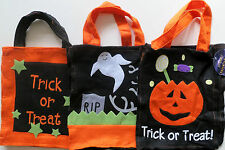 Halloween Trick Or Treat Felt Bag 3 Different Scary Designs Pumpkin Ghost Stars
