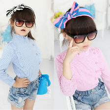 Fashion Kids Toddler Girls Clothes Plaid Patterns Tops Shirt T-Shirt Sz2-7Y Hot