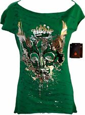 HOUSE OF DEREON BY BEYONCE LADIES GRAPHIC TEE Boat Neck Green