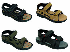 Mens Sandals Velcro black khaki Summer Beach Strapped Sandals Outdoor Shoe Size