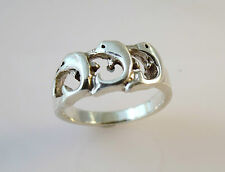 .925 Sterling Silver 3 CURVED JUMPING DOLPHINS RING Size 5,6,7,8 NEW 03067