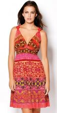 NWT NEW Hale Bob Dress Silk Jersey Sundress Size XS Print Red Coral $358