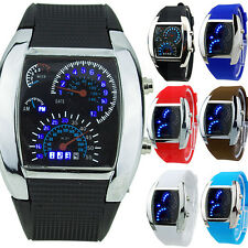 SPECIAL VOGUE HOT SALE RPM TURBO BLUE FLASH LED MENS SPORTS CAR METER DIAL WATCH