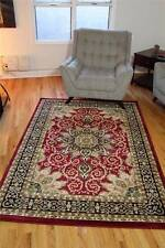 Burgundy Oriental Beige Black Traditional Area Rug carpet New
