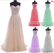 Fast Shipping Champagne Long Wedding Prom Ball Gown Formal Evening Party Dresses