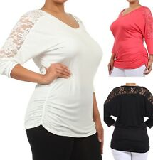 New Plus Size 3/4 Lace Dolman Sleeve Top Soft Knit Side Ruched Blouse