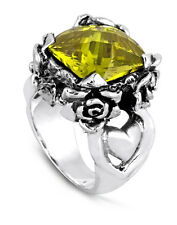 Ed Hardy Authentic Royal Collection with Rose Design Yellow Cubic Zirconia Ring