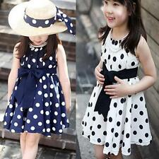 2-7 Years Kids Girl Polka Dot Chiffon Dress Baby Bowknot Belt Sundress Tunic DAv