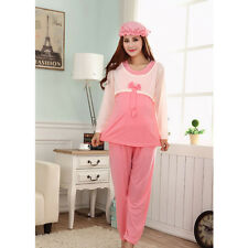 Spring Fall Pregnant Breastfeeding Bow Long Sleeve Women's Pajamas Set With Hat