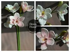 Real Touch Flowers Artificial Cymbidium Orchid Single Stem Home Decor White/Pink