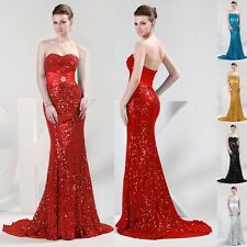 SHINY BEADS Long Mermaid Formal Evening Gowns Party Prom Bridesmaid Bridal Dress