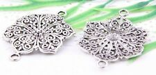 Wholesale 8/18Pcs Tibetan Silver(Lead-Free)Flower Connectors Findings  36x29mm