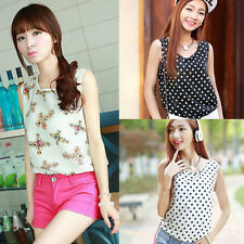Korean Fashion Women Sleeveless Floral Vest Tank Chiffon Tops Blouse T shirt