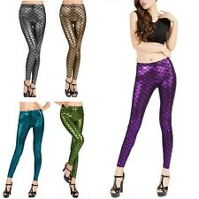 Sexy Women Strong Stretch Fish Scale Mermaid Printed Leggings Skinny Pants Tight
