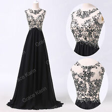 SEXY Applique Lace Beads Maxi Long Evening Bridesmaid Ball Gown Party Prom Dress