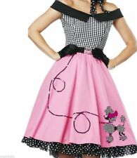 LADIES WOMANS ROCK AND ROLL 1950'S GREASE DRESS PINK LADY COSTUME 6 8 10 12 14