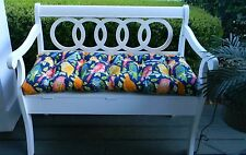 Blue Green Yellow Pink Birds Tufted Cushion for Bench~Swing~Glider, Choose Size