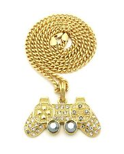"""NEW ICED OUT GAME CONTROLLER PENDANT 5mm/24"""" LINK CHAIN NECKLACE MSP381CC"""