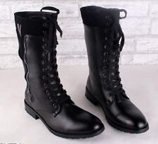New men's British style lace-up combat mid calf motercycle riding boots shoes SZ