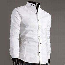 Cool Stand Collar Men's Boy's Stylish Cotton Slim Fit Casual White Black Shirt