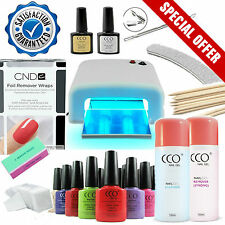 CCO UV Nail Gel Starter Kit - Manicure Set - 36W Lamp + CND Shellac Wraps