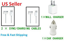 4 X1 Charging kit 2 Sync Cables 30 pin + Car, Wall Chargers for iPhone 4 4S LOT