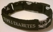 Diabetes alert bracelet SKULLS TYPE1 or TYPE 2 in 3 adjustable sizes