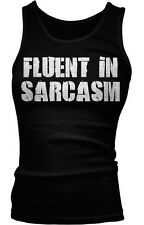 Fluent In Sarcasm Funny Humor Irony Meme Internet Joke Boy Beater Tank Top