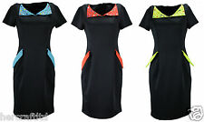 COLLECTION LONDON Womens Ladies Navy Embellished Collar Smart Shift Dress 8 - 16