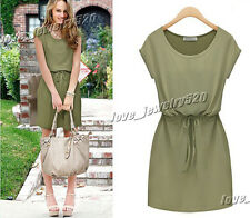 New Simple Fashion Temperament Short Sleeve Casual Party Cotton Dress S-XL