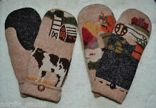 HANDMADE EMBROIDERED BOILED WOOL recycled sweater MITTENS, Fleece Lined, Country
