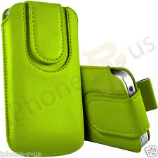 Green Magnetic PU Leather Pull Tab Flip Case For Various Vodafone Models