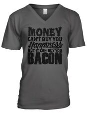 Money Cant Buy You Happiness But It Can Buy You Bacon Funny Mens V-neck T-shirt