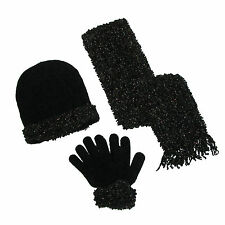 New CTM Womens Loopy Chenille Sparkle Hat Gloves and Scarf Winter Set