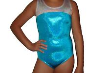 New girls gymnastic leotard metallic turquoise and silver top