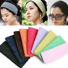 1x Candy Color Women Head Band Stretch Wide Hairband Girls Sports Yoga Hairband