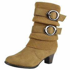 Girls Booties Mid Calf Faux Suede Buckle Accent Stacked Heel Knitted Boots