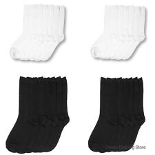 12 Pairs Lot Women Crew School Socks Plain Solid Black White Winter Size 9-11