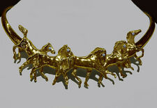 Cavalli Del Mar Solid 14K Gold Running Horses Equestrian Necklace With Rubies