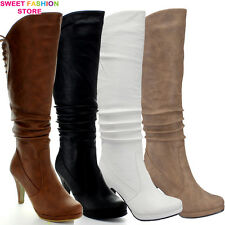 NEW High Heel Slouch Knee High Side Zipper Lace Boot Women Party Shoe Size 5 -10